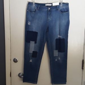 Distressed Patched Jeans